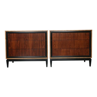 RWAY Rosewood and Walnut Chest of Drawers - A Pair