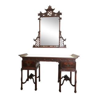 1950s Asian Pagoda Style Vanity or Desk With Matching Mirror - 2 Pieces For Sale