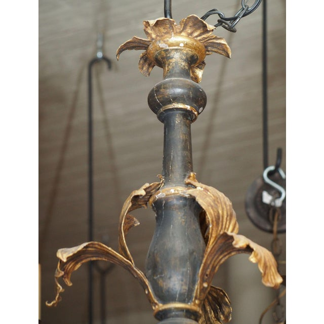 Italian 19th Century Italian Wood and Gilded Tole Chandelier For Sale - Image 3 of 9