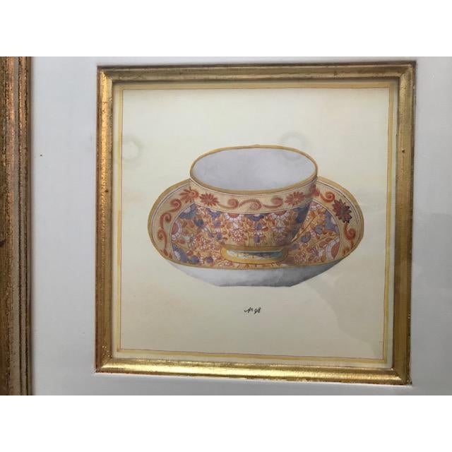 Traditional Trowbridge Gallery Numbered Teacup Square Prints in Gilt Frames - Set of 4 For Sale - Image 3 of 13