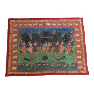 Mid Century Vintage Large Pichhavai Silk Hand Painting For Sale