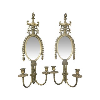 Brass Wall Sconces With Mirrors - Two For Sale