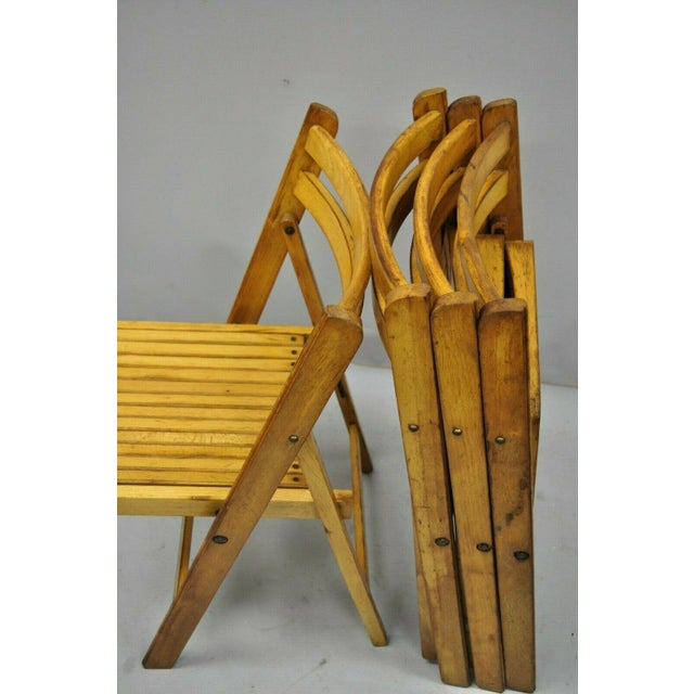 1950s 1950s Vintage Wood Slat Folding Dining Game Chairs- Set of 4 For Sale - Image 5 of 11