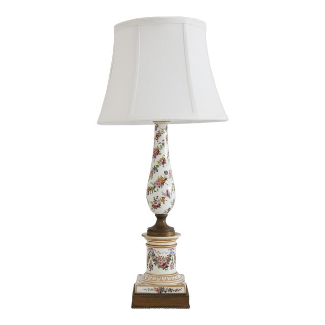 Dresden Style Hand Painted Table Lamp For Sale