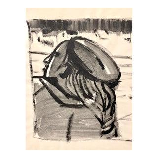 """Donald Stacy """"Parisian Woman"""" C.1950s Gouache Mid Century Female Portrait Painting For Sale"""