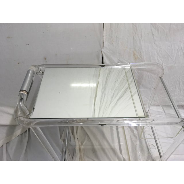 Transparent 70s Acrylic W/ Chrome Bar Cart For Sale - Image 8 of 13