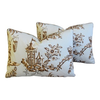 """Designer Bailey & Griffin Chinoiserie Feather/Down Pillows 22"""" X 16"""" - Pair For Sale"""