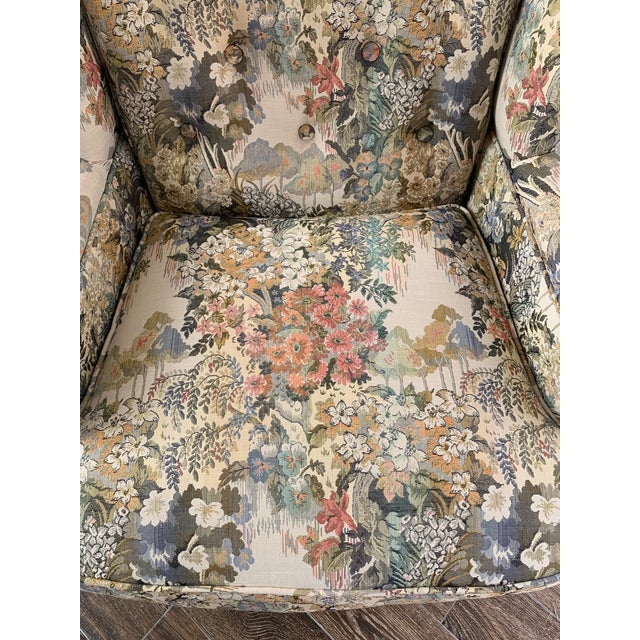 Custom Floral Wingback Chair For Sale In Kansas City - Image 6 of 12