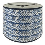 Image of Ink Blue Braid Tapered Drum Lamp Shade For Sale