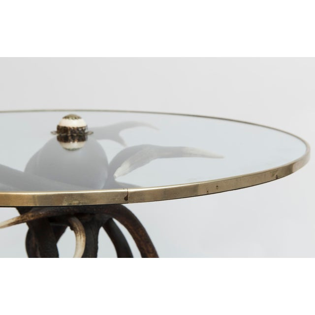 This is a unique antler based side table with a glass top with brass rim. The table is beautifully made.