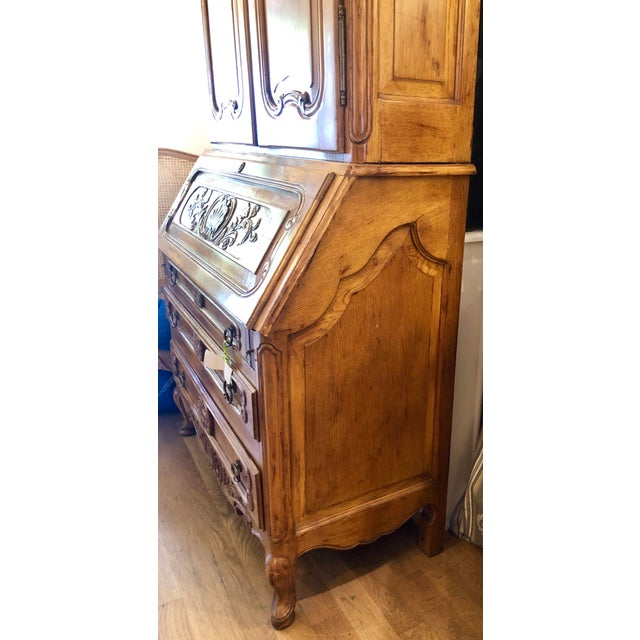 Antique French Provincial Secretary Slant Front Desk Bookcase W Lion Pulls For Sale In Los Angeles - Image 6 of 6