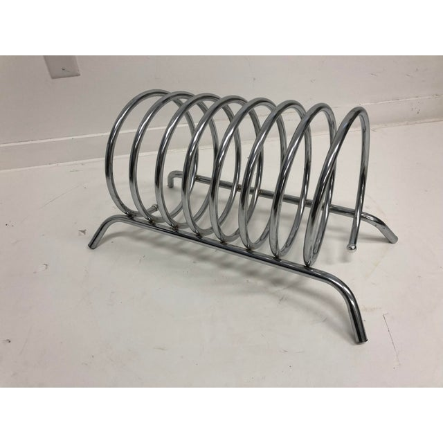 Vintage Mid Century Modern Chrome Metal Record Rack For Sale - Image 9 of 10