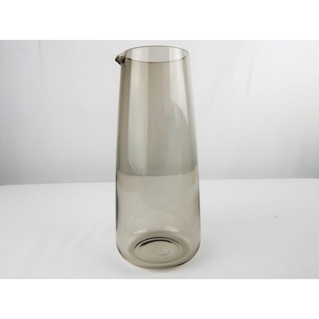 Stylish Mid-Century Modern smoked glass martini pitcher. No maker's mark.