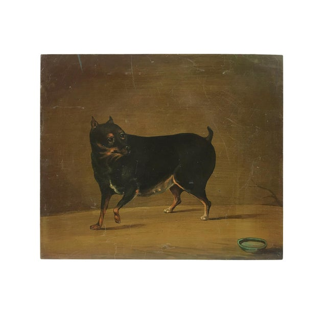 """Americana """"Playful Toy Rottweiler"""" Vintage Metal Panel Painting For Sale - Image 3 of 3"""