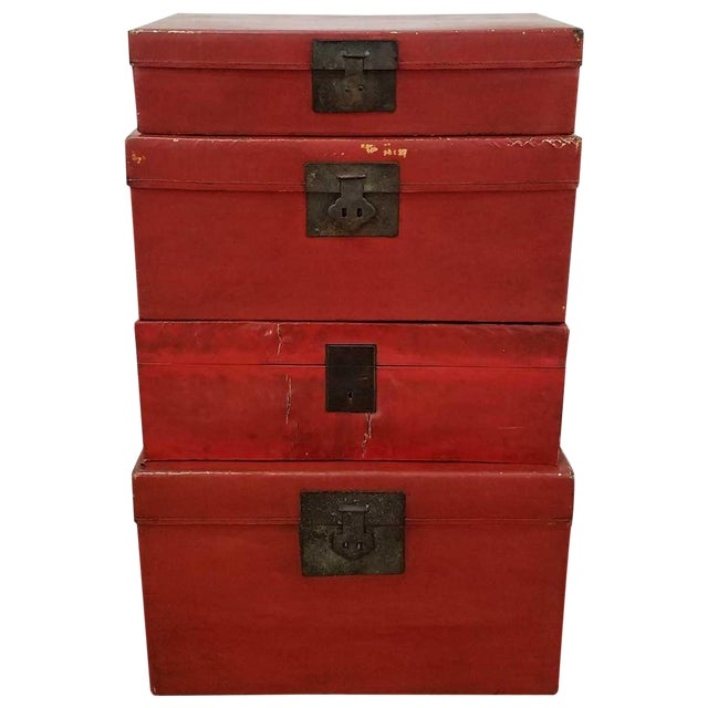 Chinese Lacquered Trunks For Sale