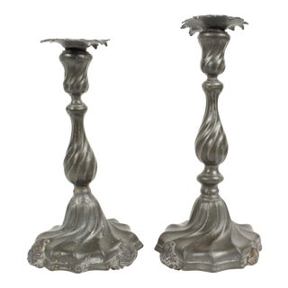 Antique Pewter Candle Holders - A Pair For Sale