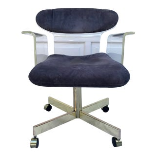 1960's Molded Lucite and Brass Kagan Style Desk Chair For Sale