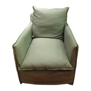Lee Industries Green Linen Swivel Chair