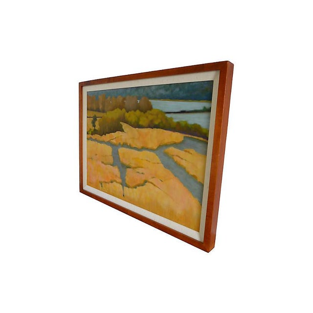 """Oil on canvas painting titled """"Glowing Marsh"""" by Joan Diamant. Signed lower left. Displayed in a wood frame."""