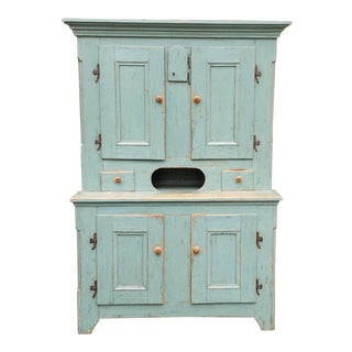 Antique 19th Century Country Distressed Painted Quality Primitive Kitchen Dining Cupboard Cabinet For Sale