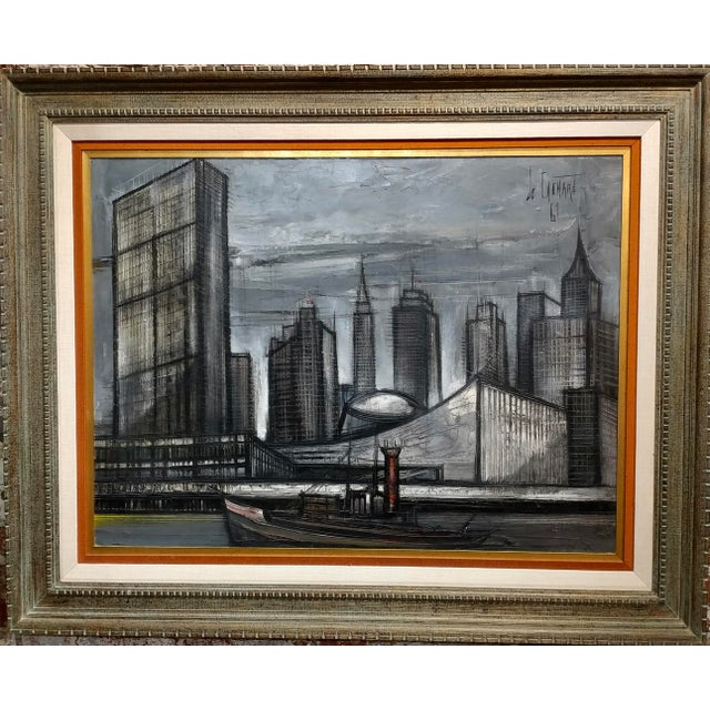 "Regis De Cachard - New York Skyline 1961 -Oil painting oil painting on canvas -Signed and dated frame size 43 x 52"" canvas..."