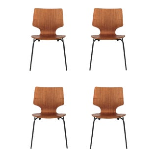 Vintage Danish Teak School Chairs - Set of 4 For Sale