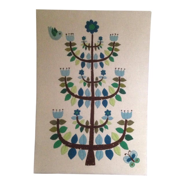 Vintage Tree of Life Textile Wall Art - Image 1 of 11