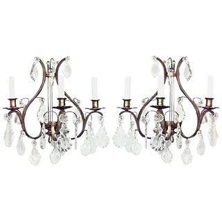 French Louis XV Style Bronze and Crystal Lyre Wall Sconces - a Pair For Sale