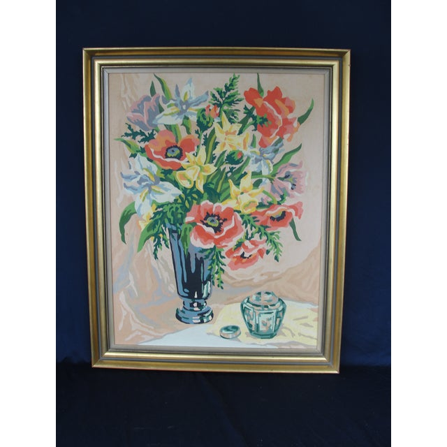 Vintage Floral Number Paintings in Gold Frames - a Pair | Chairish