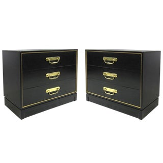 Elegant Pair of Bachelor's Chests With Brass Pulls For Sale
