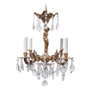 Spanish Style Bronze Chandelier For Sale