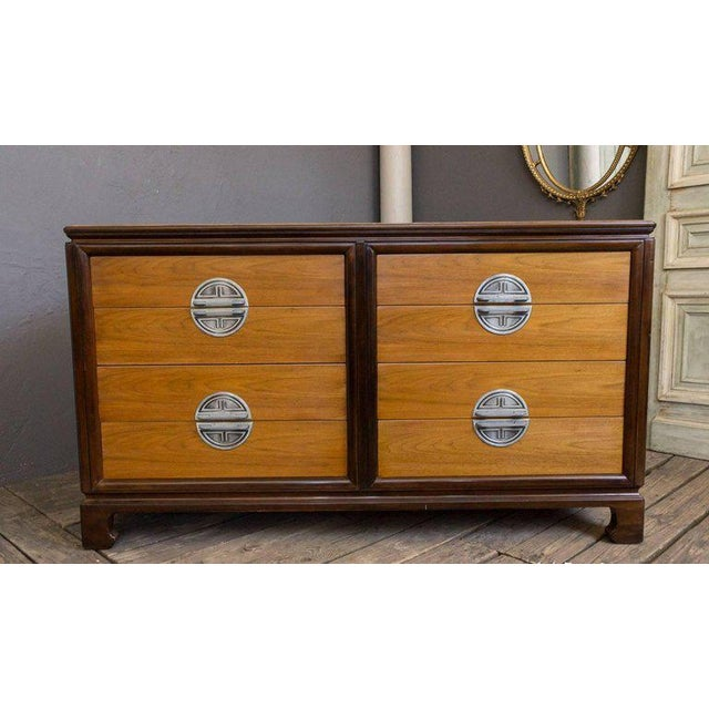 "American Midcentury ""Chinese-Modern"" Low Chest of Drawers For Sale - Image 4 of 11"