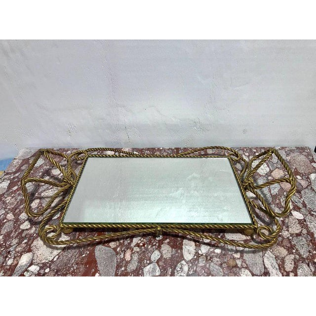 """Italian Gilt Rope Motif Vanity Tray, Of generous proportions, with a 10""""x 16"""" inset mirror"""