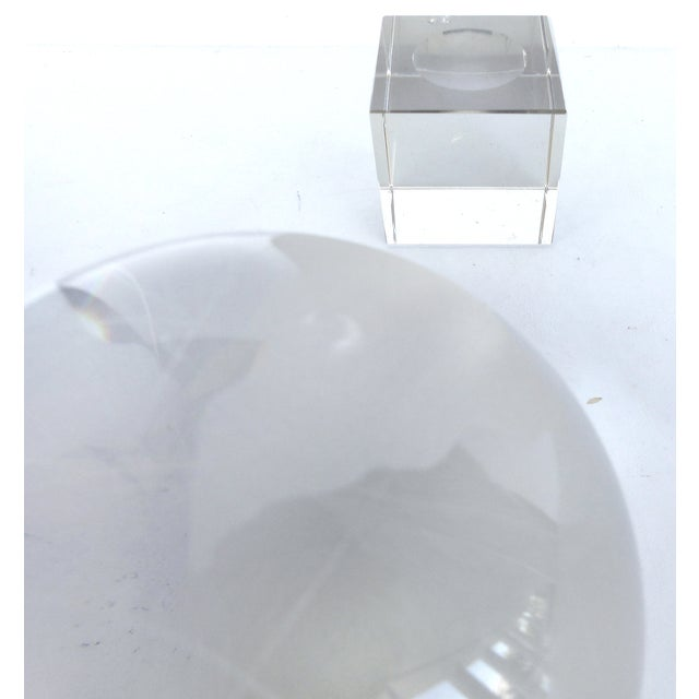 Etched Crystal Globe on Stand - Image 7 of 8