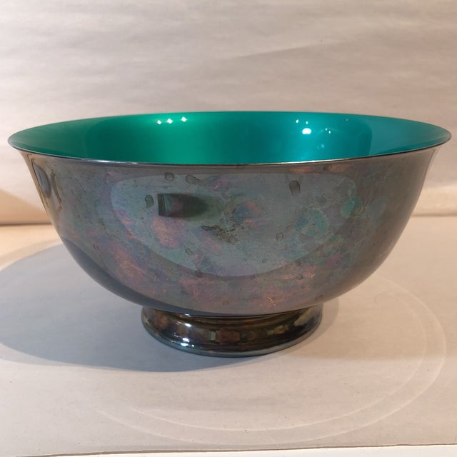 Green Reed & Barton Silver Plated & Bright Green Enamel Bowl For Sale - Image 8 of 10