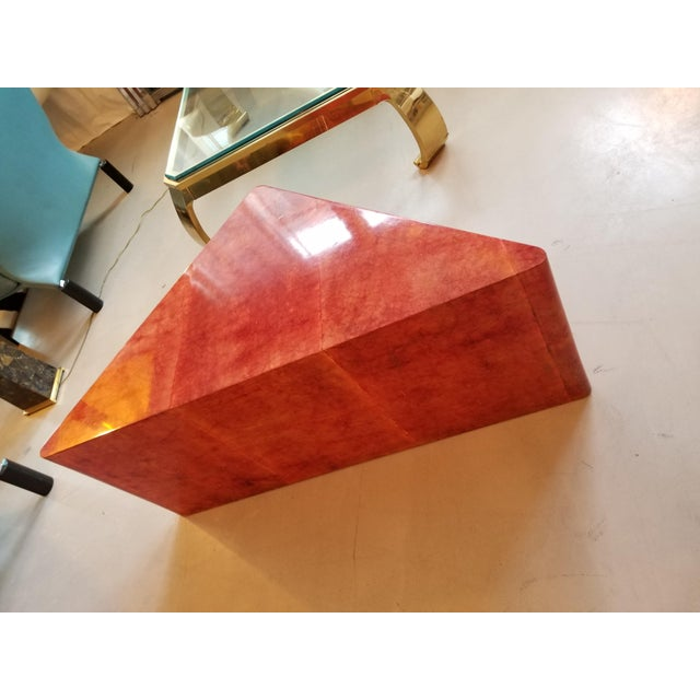 Aldo Tura 1980's Triangular Died Parchment Coffee Table in the Manner of Karl Springer For Sale - Image 4 of 4