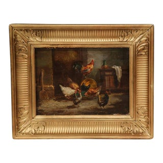 19th C. Gilt French Country Paintings - a Pair For Sale