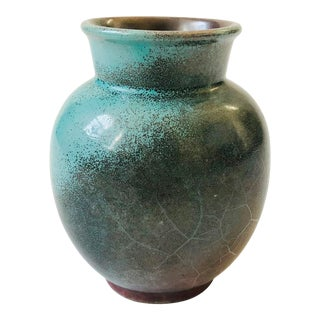 Vintage German Turquoise Art Pottery Vase For Sale