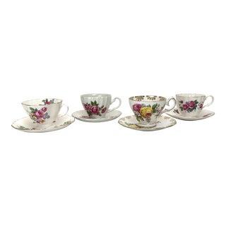 English Porcelain Mismatched Tea Set - Set of 4 For Sale