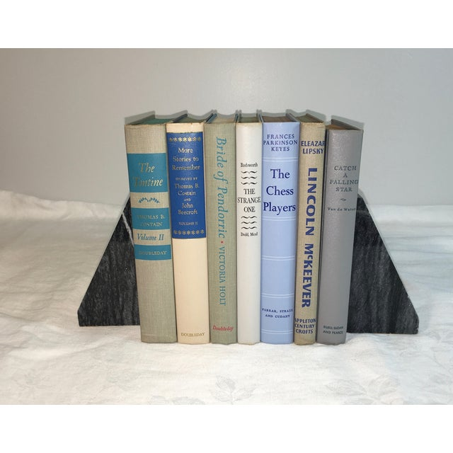Mid-Century Neutral Blue Books - Set of 7 - Image 2 of 3
