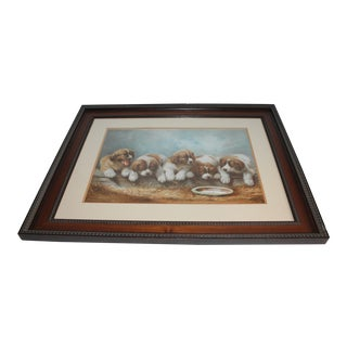 Puppies in the Hay Framed, 19th Century Print For Sale