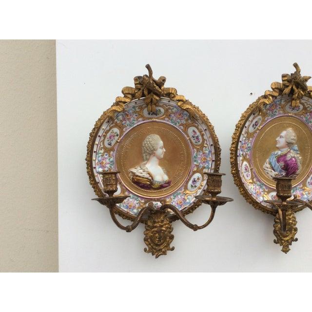 Porcelain & Bronze Royal Portrait Sconces - A Pair - Image 6 of 11