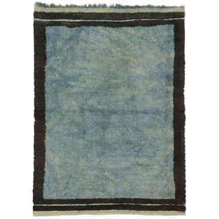 1990s Turkish Distressed Blue Rug - 4′2″ × 5′10″ For Sale