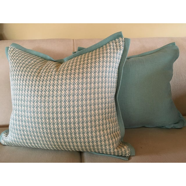 Just in time for spring! These pillow covers will brighten up any space. Wolves aqua houndstooth front with a solid aqua...