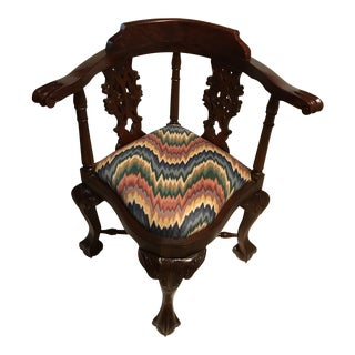 Chippendale Style Mahogany Ball & Claw Corner Armchair