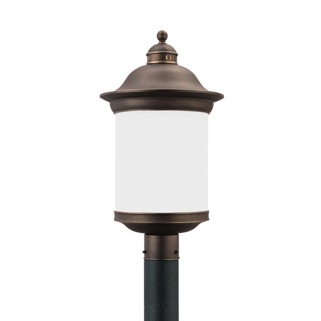 Transitional Marguerite One Light Outdoor Post Lantern, Bronze For Sale - Image 3 of 3