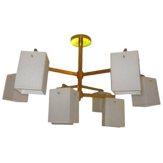 Custom Nine-Arm Midcentury Style Brass Chandelier For Sale