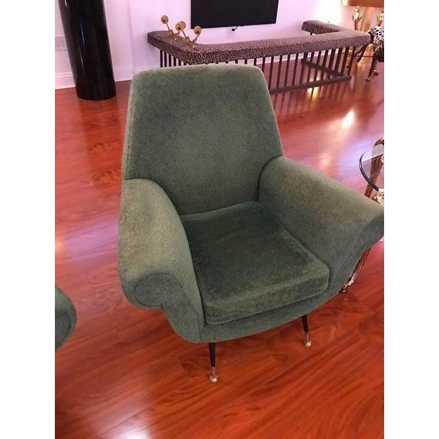 Italian Italian Mid-Century Modern Club Chairs - A Pair For Sale - Image 3 of 6