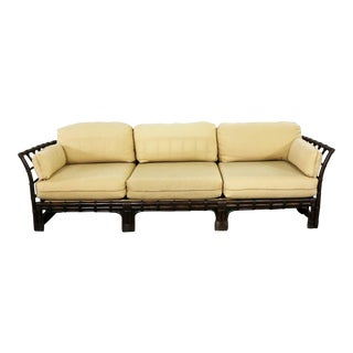 Brown Jordan Windowpane Dark Brown Rattan Sofa With Straw Colored Cushions For Sale
