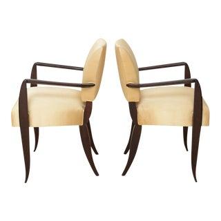 Pair of French Late Art Deco Ebony De Macassar Armchairs, Dominique Et Cie